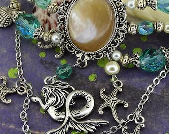 Mermaid Barrette | Under the Sea | shell and starfish - nautical jewelry - Aqua AB and ivory