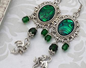 Dragon Earrings | Mother of Dragons | Green Medieval Earrings, Emerald Green Earrings, Chandelier earrings, Renaissance fantasy earrings