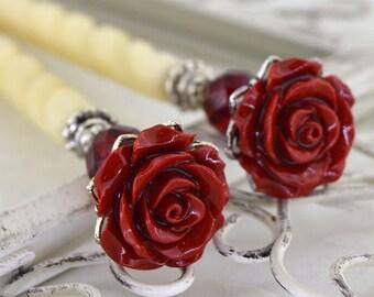 Rose Hairsticks   Bella Rosa   Red Hairsticks, Romantic Hairsticks, Romantic Victorian, Elegant Hairsticks, Red Rose, Gift for her