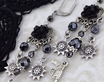 Wild West Earrings, Black Rose Earrings, Chandelier Earrings, Old West Cosplay, Gun Earrings, Large Earrings, Gift for her