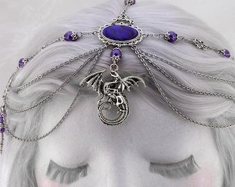 Purple Medieval Dragon Headdress - Mother of Dragons