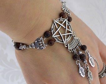 Chain Pentacle Bracelet | Woodland Magick Bracelet | wiccan bracelet, slave braclet, pagan bracelet, gemstone bracelet, gift for her