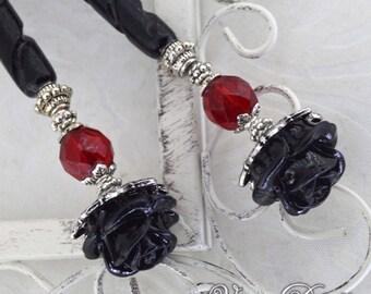 Black Rose Hairsticks   Bella Rosa   Elegant Victorian, gothic wedding, romantic goth, bone hairsticks, gothic lolita, black and red