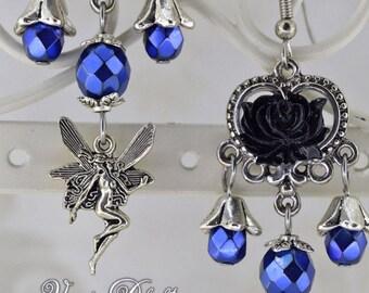 Faery Rose - Gothic Fairy Earrings, Black Rose Earrings, Bohemian Fairy Earrings, Victorian Rose Earrings, Blue Fairy Earrings