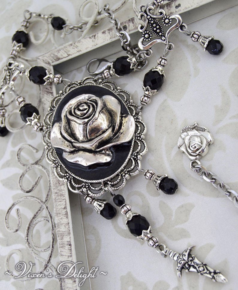 Gothic Delight  Gothic statement necklace  Metal rose image 0