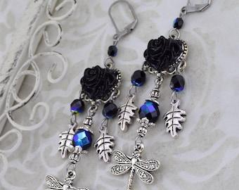 Large Dragonfly Earrings   Winged Mysteries   Chandelier Earrings, Fantasy Earrings, Black Rose Earrings, Gothic Fantasy Earrings