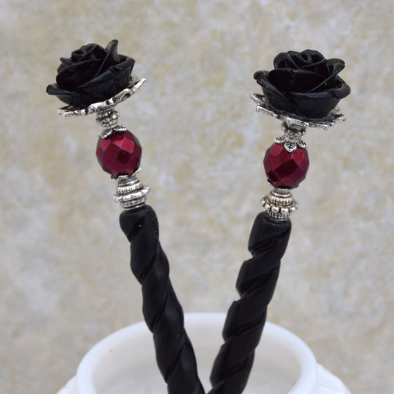 Black Rose Hairsticks | Bella Rosa | Elegant Victorian, Gothic Wedding, Romantic Goth, Bone Hairsticks, Gothic Lolita, Black And Burgundy by Etsy