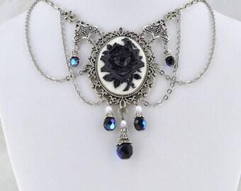 La Rose Gothique - Beautiful Black Rose Cameo Necklace - Gothic Victorian Necklace