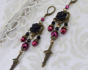 Gothic Rose Earrings, Gothic Bronze Earrings, Black Rose Earrings, Gothic Earrings, Burgundy and Black Earrings, Dagger Earrings, For her