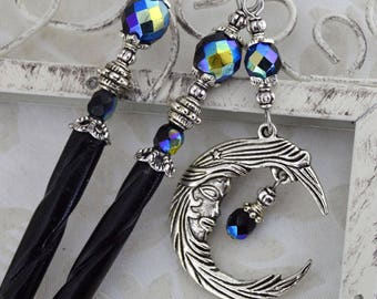 Bella Luna Hair Sticks - Silver and Jet AB Celestial Moon HairSticks
