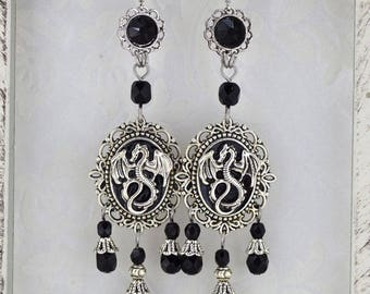 Dragon Charmer - large medieval dragon earrings - statement jewelry