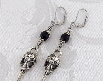 Raven Earrings | Nevermore | - Gothic Earrings, Skull Earrings, Small Earrings, Bird Earrings, Steampunk Raven, Black Earrings, Gift for Her