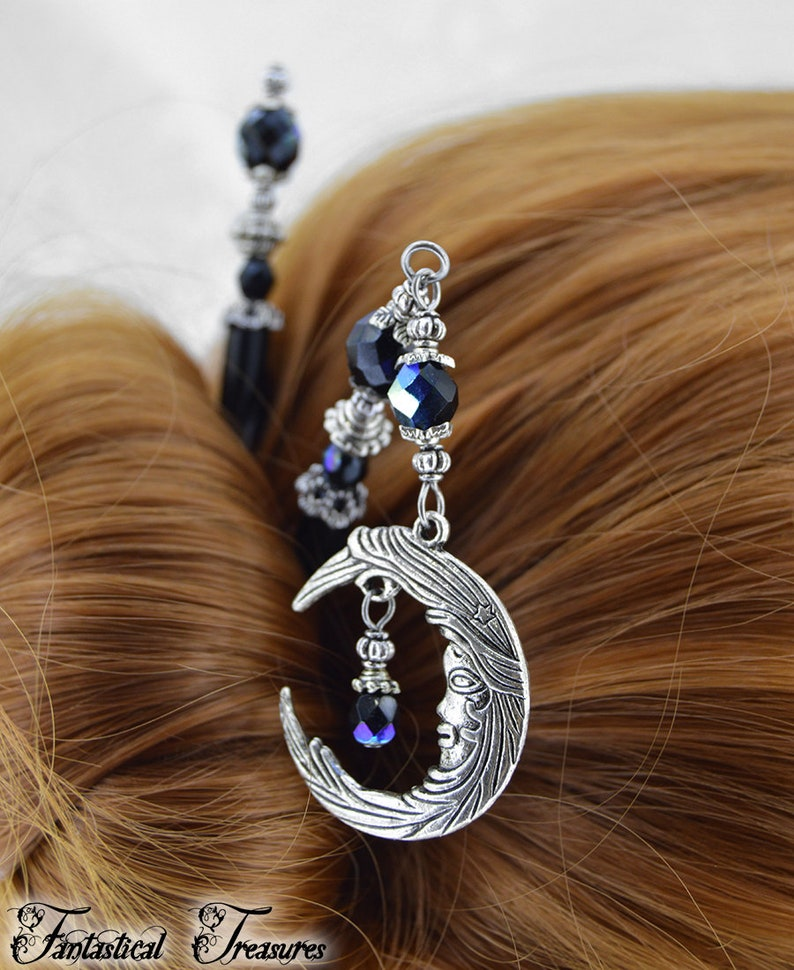 Silver and Jet AB Celestial Moon HairSticks Bella Luna Hair Sticks Purple hair sticks