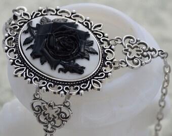 La Rose Gothique - Beautiful Black Rose Cameo Necklace