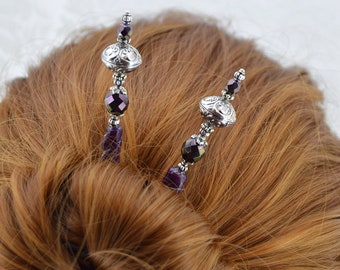 Hair Sticks |Natures Splendor| Hair Jewelry, Hair Stick, Hair Ornament, Hair Accessory, Bone hair stick, Beaded hairstick, Bohemian Jewelry