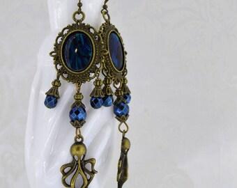 Wrath of Cthulhu - Steampunk earrings - Bronze and teal dagger earrings