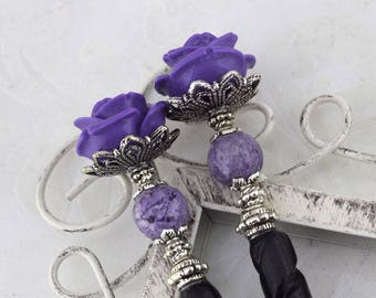 Black Rose Hairsticks   Bella Rosa   Elegant Victorian, gothic wedding, romantic goth, bone hairsticks, Purple rose hairstick, for women