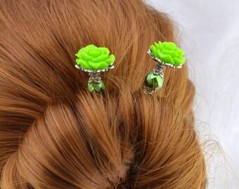 Bella Rosa Hairsticks, elegant rose hair stick   Green Rose Hair Sticks, Ivory Bone Hair Stick, victorian hairsticks, elegant hairsticks