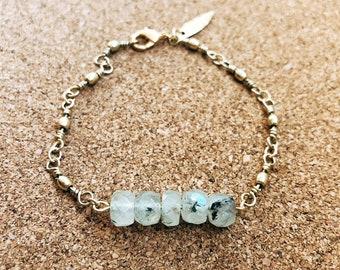 Prehnite + Brass Barrel Lure Chain Bracelet
