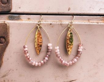 Rose Jade + Hammered Gold Lure Earrings