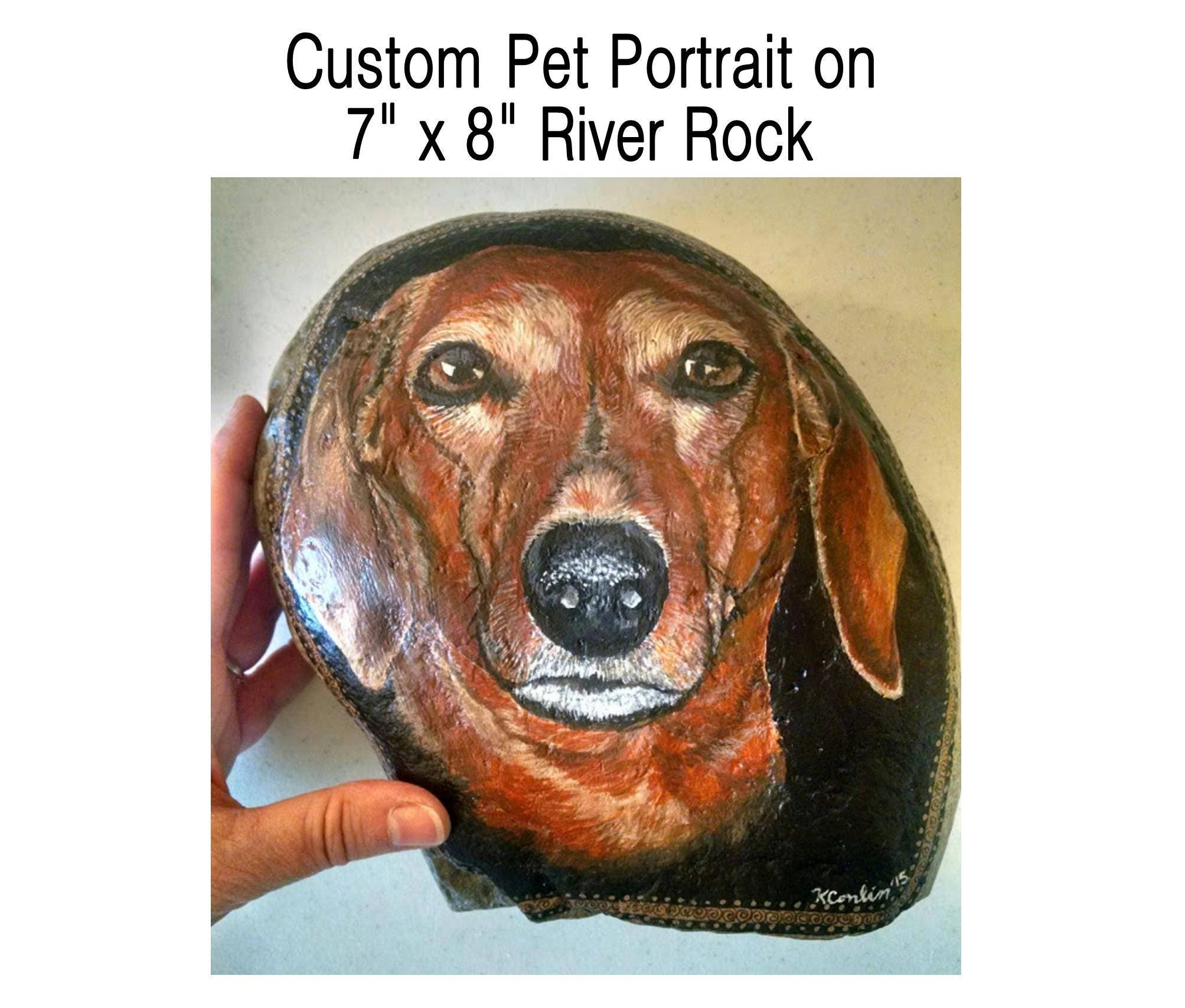 Hand Painted Rocks 7x8 Dog Painted Painting on