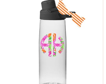 061b24d7571669 Monogrammed Camelbak Water Bottle With Matching Ribbon, Lilly Pulitzer  Inspired Pattern