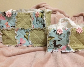 "Mother and Daughter ""Ready for Spring"" Rag Quilt Purses"