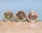 Set Of Three Saucer Wall Plaques ( Fox Hunting Seen )