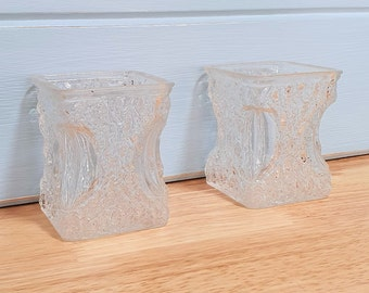 Two Small Textured Rectangle Bud Vases