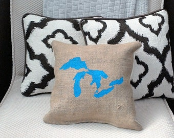 """Bright Blue Great Lakes 12"""" x 12"""" Stuffed Burlap Farmhouse Pillow - coffee sack - jute couch cushion - Michigan - up north - cabin"""