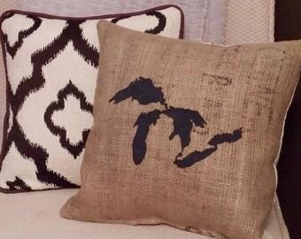 "Black Great Lakes 14.5"" x 14.5"" Stuffed Burlap pillow - jute - Michigan decor - cushion - cottage - up north - repurposed - housewarming"
