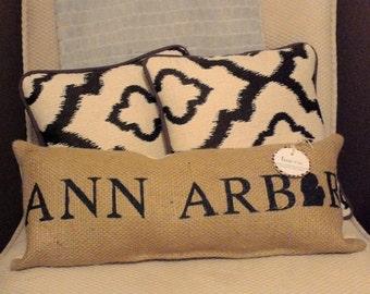 "Ann Arbor Michigan Burlap Pillow 21.5"" x 8""  - rustic cushion - repurposed coffee bean sack - farmhouse pillow - u of m - wolverines"