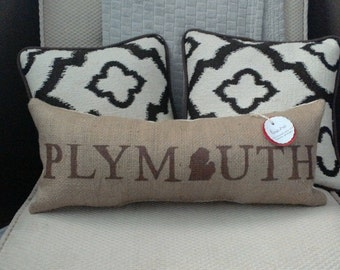 """Plymouth Michigan 21.5"""" x 8"""" Stuffed Burlap Pillow - great lakes - accent cushion - upcycled coffee sack - detroit - farmhouse - rustic"""