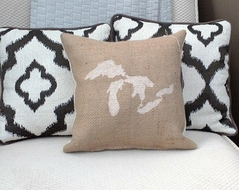 """Ivory Great Lakes 12"""" x 12"""" Stuffed Burlap Farmhouse Pillow - coffee sack - jute couch cushion - Michigan - up north - cottage - vacation"""