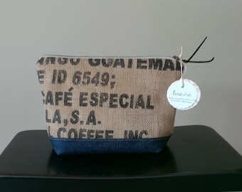Handmade Denim and Burlap Zipper Case - toiletry bag - repurposed coffee sack - upcycled - makeup - cosmetic pouch - travel accessory bag
