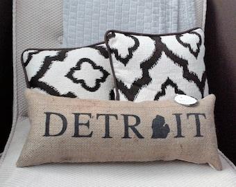 "Detroit Michigan Black Burlap Stuffed Pillow 21.5"" x 8""  - cushion - mitten state - city - rustic - coffee bean sack - motor city"