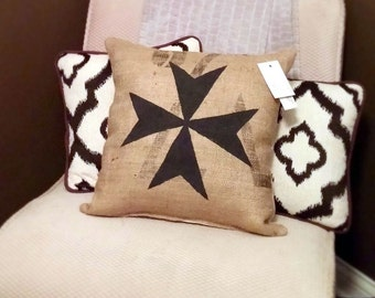 "Black Maltese Cross 17"" x 17"" Burlap Pillow - repurposed - jute pillow - coffee sack - couch cushion - malta - european decor - EU"