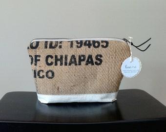 Handmade Pink Dot Burlap Zipper Case - toiletry bag - repurposed coffee sack - upcycled - makeup - cosmetic pouch - organic jute