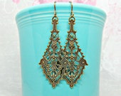 Vintage style filigree earrings antiqued brass lacey drop earrings jewelry gift for her American made nickel free brass hypoallergenic