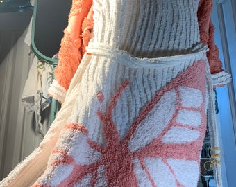 Large peach/lavender butterfly chenille bathrobe Upcycled from NEW chenille bedspreads