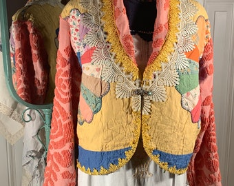 Free size vintage Dresden plate jacket Upcycled from vintage handmade quilt and chenille bedspreads