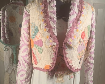 Free size vintage patchwork Dresden plate jacket Upcycled from vintage handmade quilt and chenille bedspread