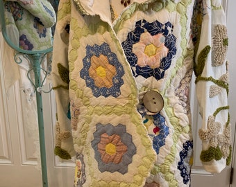 Medium/large Upcycled vintage grandmothers flower garden quilt and chenille coat with hood