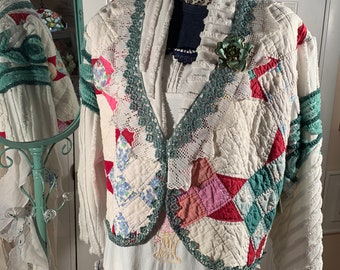 Free size 6-14 patchwork quilt jacket Upcycled from vintage handmade quilt and chenille bedspread