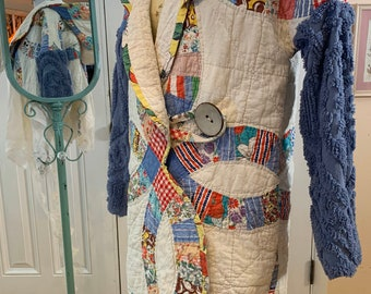 Upcycled medium vintage double wedding ring quilt and chenille coat with hood