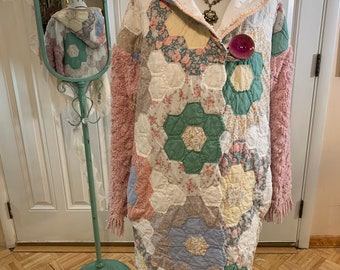 Upcycled grandmothers flower garden quilt and chenille coat with hood