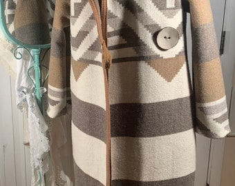 Small extra long Pendleton wool coat with hood Upcycled from vintage Pendleton blanket