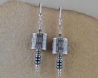 Art Deco Earrings - Geometric Earrings - Modern Earrings - Statement Earrings - Hematite Earrings - Long Earrings - Stacking Tiles Earrings
