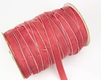 """VINTAGE 1//4/"""" VELVET ribbon 3yds MOSS GREEN Made in France"""