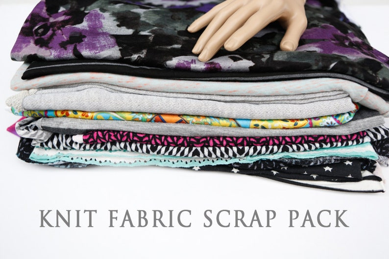 Knit Fabric Variety Surprise Scrap Pack Larger Pieces image 0